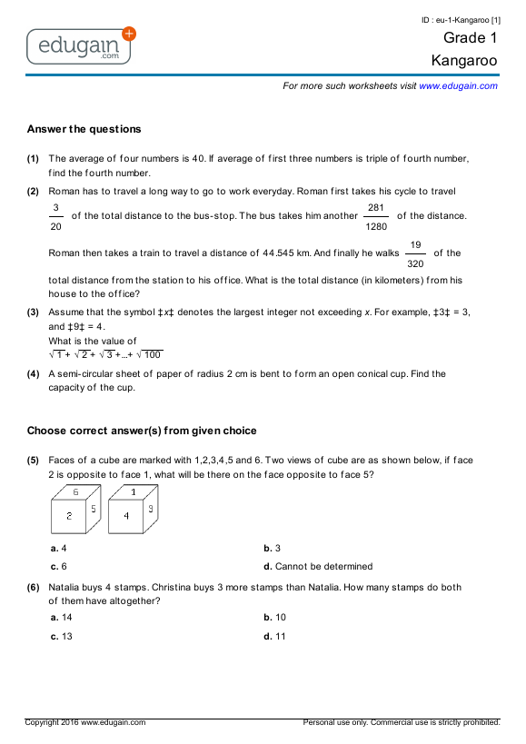 Grade 1 - Math Kangaroo Preparation, Online Practice, Questions, Tests,  Worksheets, Quizzes, Assignments Edugain USA
