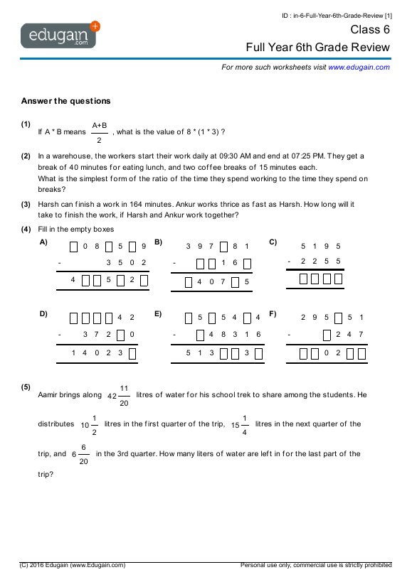 Grade 6 Math Worksheets and Problems Full Year 6th Grade Review – Integers Math Worksheets