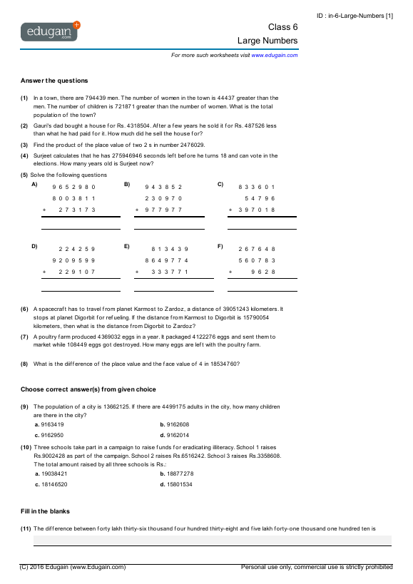 Grade 6 Math Worksheets and Problems Large Numbers – Than then Worksheet