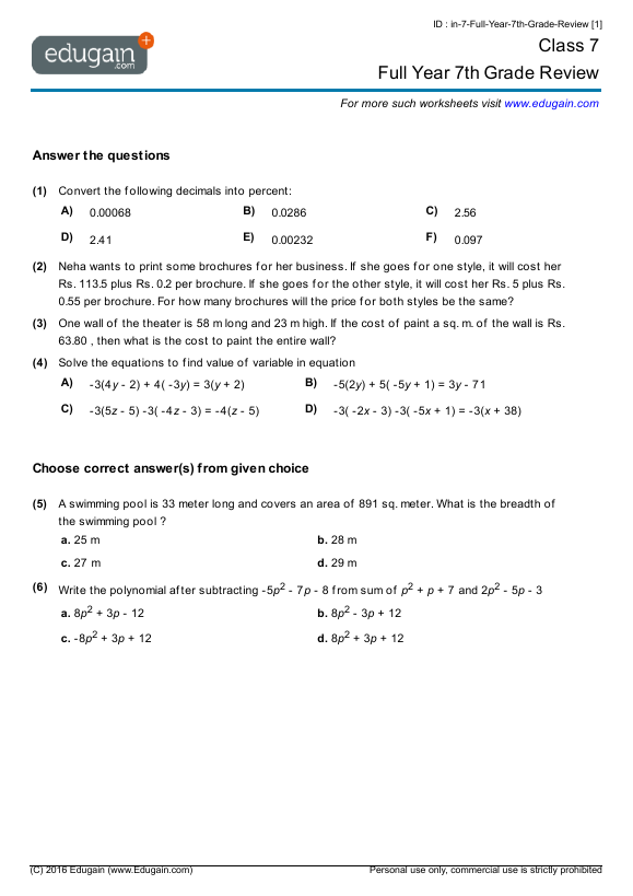 Grade 7 Math Worksheets and Problems Full Year 7th Grade Review – Year Maths Worksheets