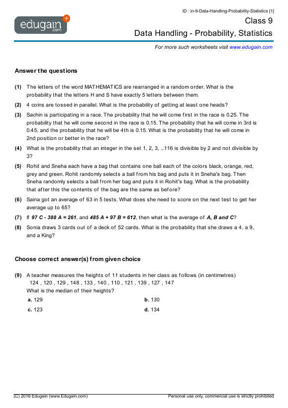 Grade 9 Math Worksheets and Problems Data Handling Probability – Test of Divisibility Worksheets