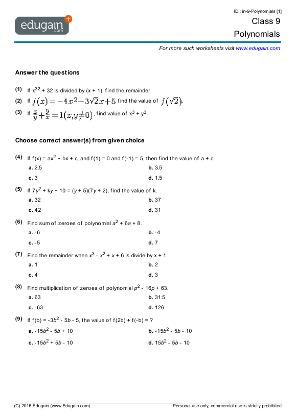 Grade 9 Math Worksheets and Problems Polynomials – Polynomials Worksheets